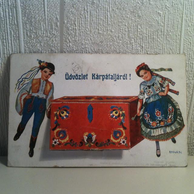 Bernath képeslap leporelló régi kárpátaljáról magyar népviselet old postcard hungarian folk attire subcarpathia leporello