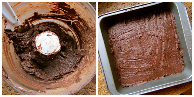 2 pics. First is icing being made in a food processor. Second is icing spread on pressed ingredients in baking pan.