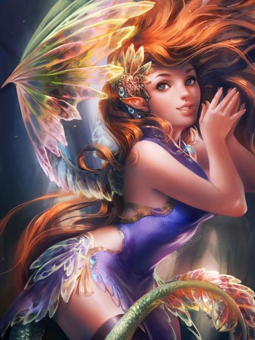 sakimichan deviantart ilustrações pinturas digitais mulheres fantasia