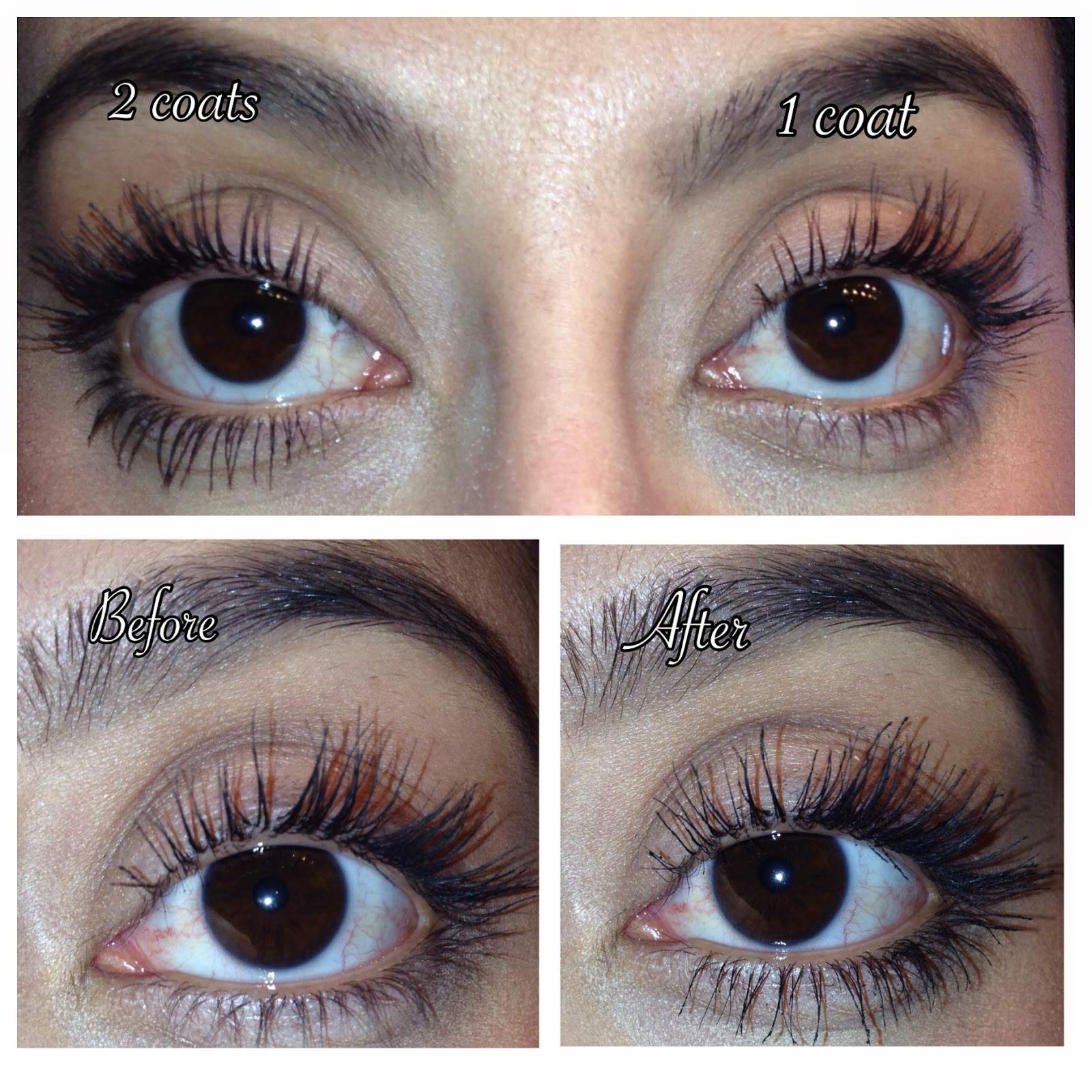 Before and after, baby powder to thicken lashes