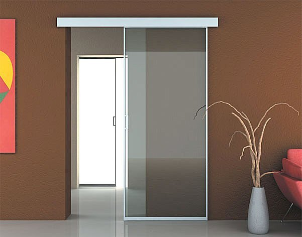 Blazzing home bedroom door design wall mount sliding - Puertas correderas cristal ...