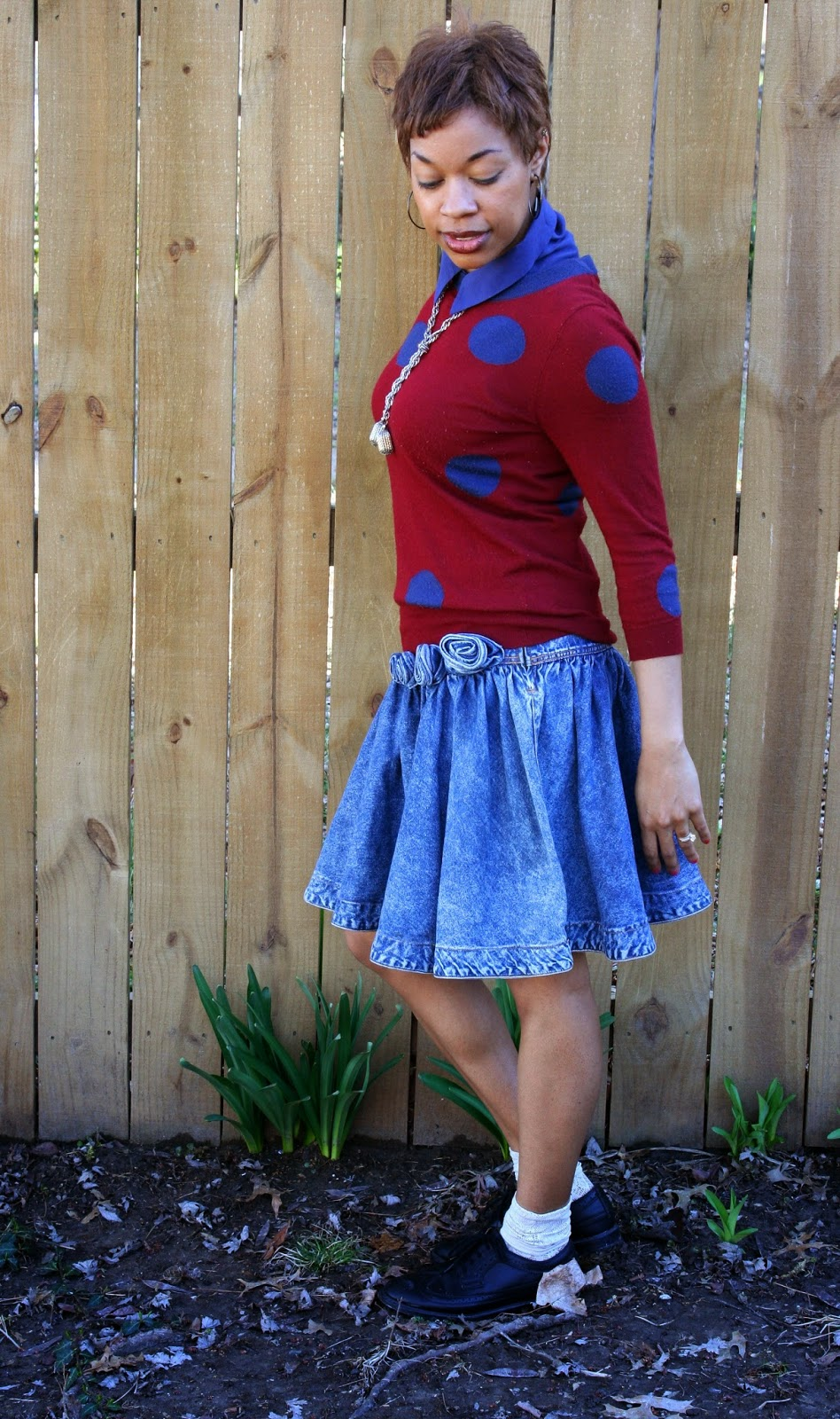denim skirt and polka-dot sweater