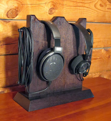 wood headphone stand, for two headphones