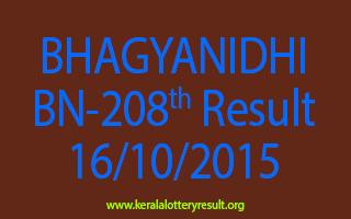 BHAGYANIDHI BN 208 Lottery Result 16-10-2015