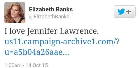 Elizabeth Banks tweet on jennifer lawrence's essay