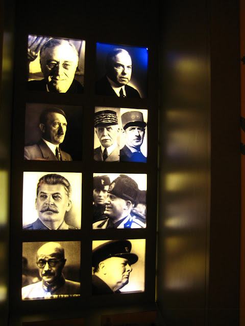 Photo of world leaders during World War Two in Canadian War Memorial Museum in Caen, France.