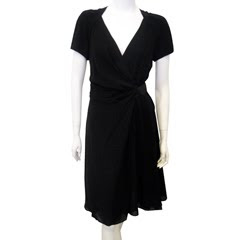 Side Tie Wrap Dress in Black