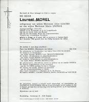 Rouwbrief Laurent Morel 1885-1988