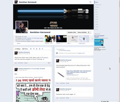 Live preview of the facebook timeline of Sambhav Karnawat