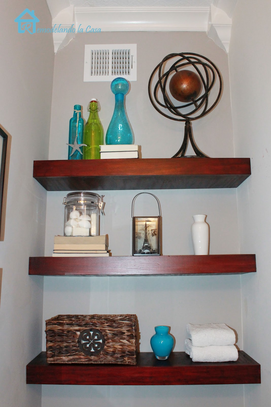 diy floating shelves remodelando la casa. Black Bedroom Furniture Sets. Home Design Ideas