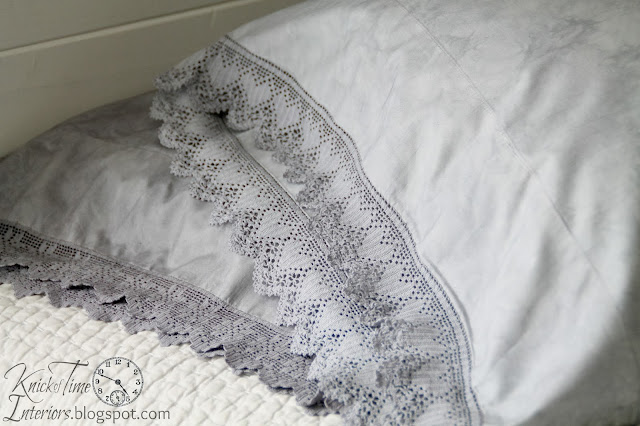 Pottery Barn Crochet Trimmed Pillow Shams DIY via Knick of Time  Dying Fabric with Rit Dit