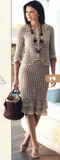 Blusa y Falda tejidas a crochet con volados