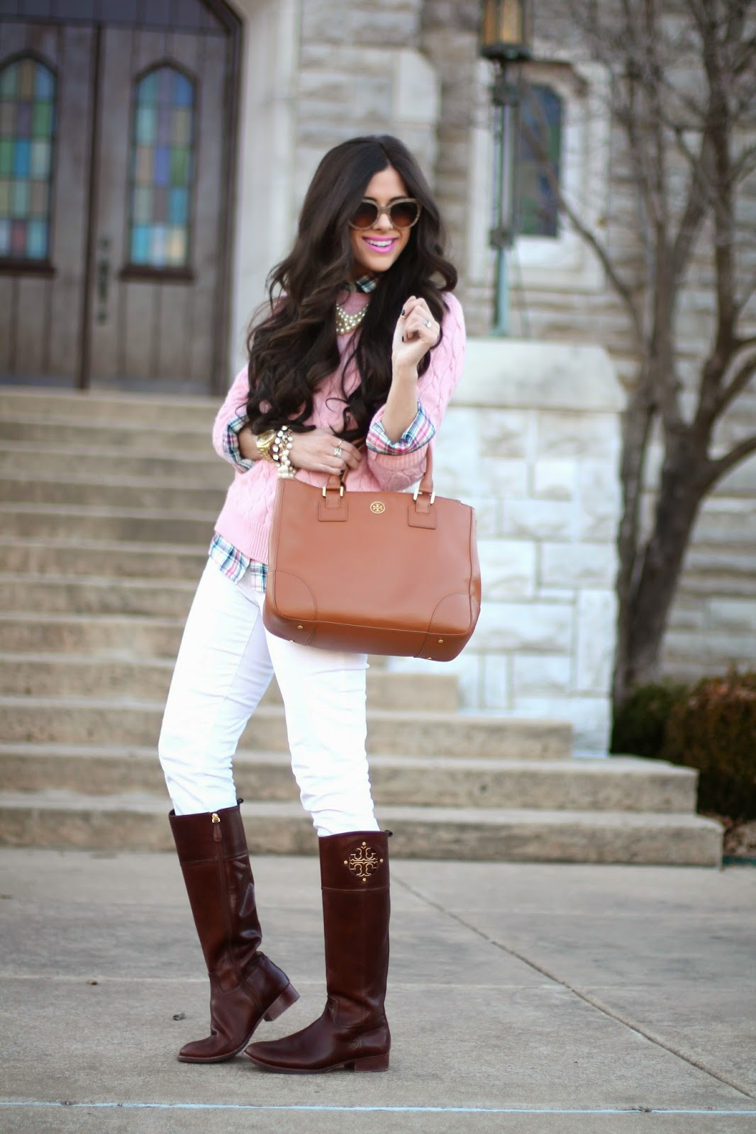www.TheSweetestThingBlog.com, Emily Gemma, Spring Fashion, Pinterest Spring Fashion, Tory Burch Robinson Tote, Tory Burch Kiernan Boots, PRada sunglasses, David Yurman Ring, David Yurman double x, White pants in winter