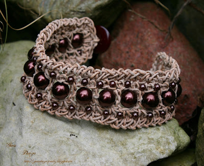 crochet leather bracelet with beads by gunadesign