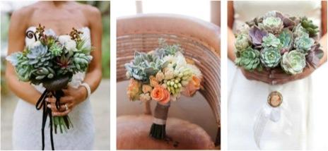 Ramos de novia con plantas suculentas