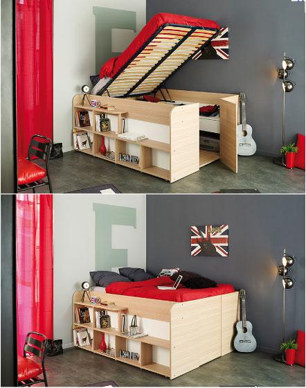 Chambre gain de place amazing decorer une petite chambre for Lit studio gain de place