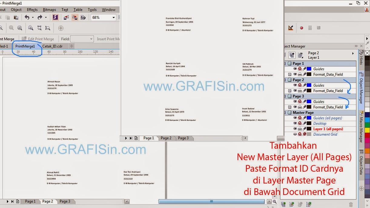 Hasil Print merge Kartu mahasiswa ditambahkan Master Layer ID Card