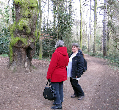 Ewa Prokop and a walker by a big cedar in the Harvington Estate