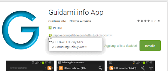 Lista dispositivi Android compatibili app Google Play