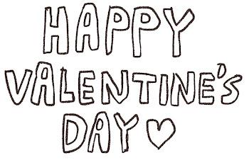 「Happy Valentine's Day」のイラスト文字 線画