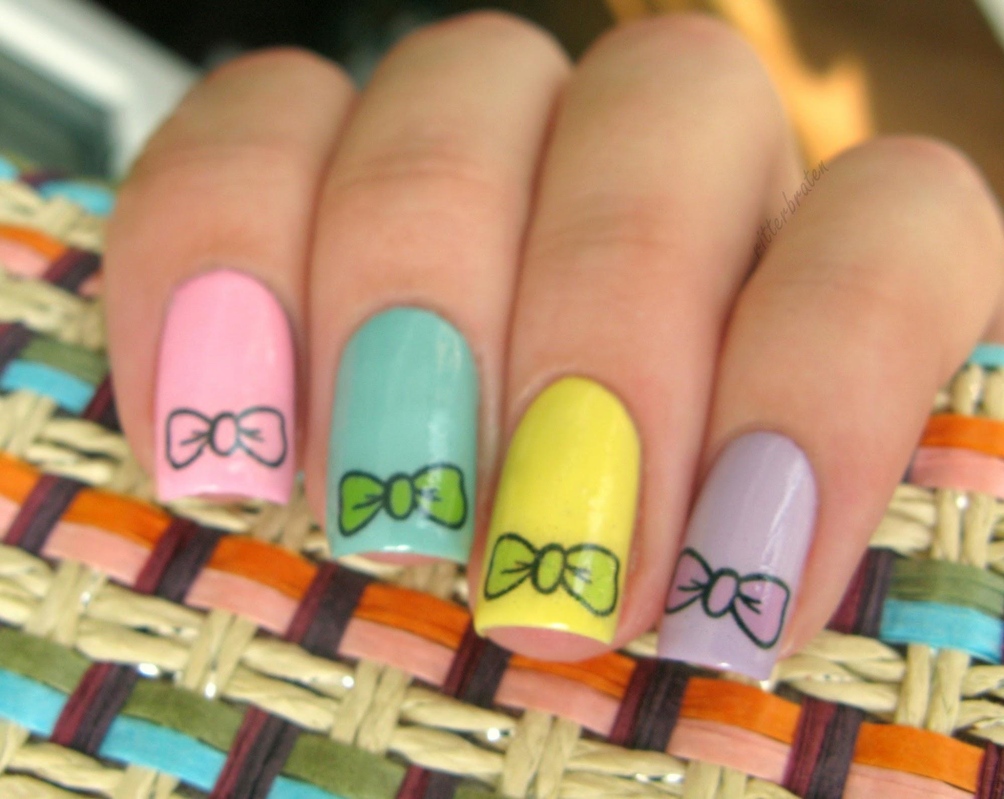 bows nail art