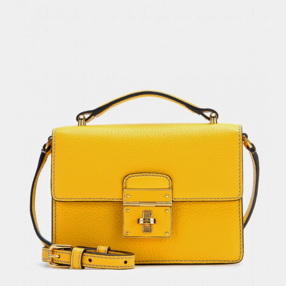 Dolce & Gabbana Rosalia Yellow Leather Shoulder Bag