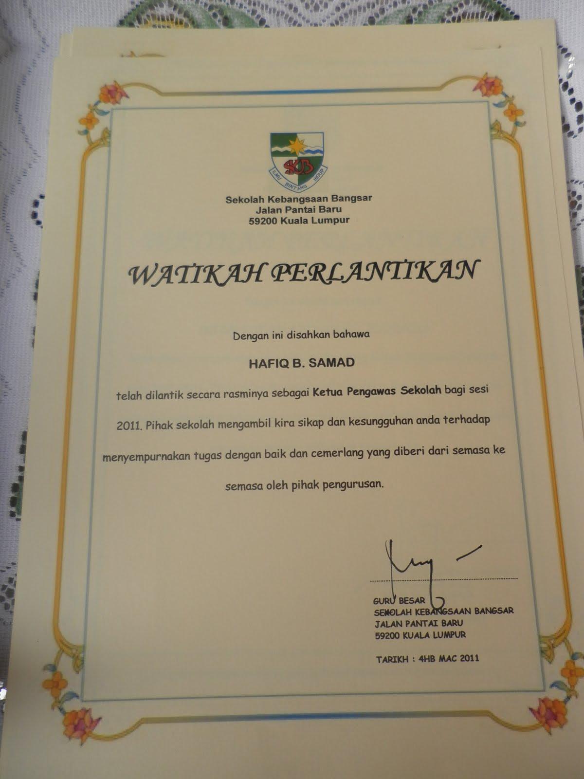 Sekolah Kebangsaan Bangsar Majlis Watikah Pelantikan Pengawas