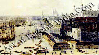 The Port of London, In the early 19th century, sea-going merchant ships came right up to the Tower of London. Their cargo would then be unloaded into smaller boats, which could pass beneath the low Thames bridges.