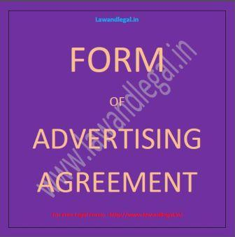 Lawandlegal.in: Advertisement Agreement - A Sample Form