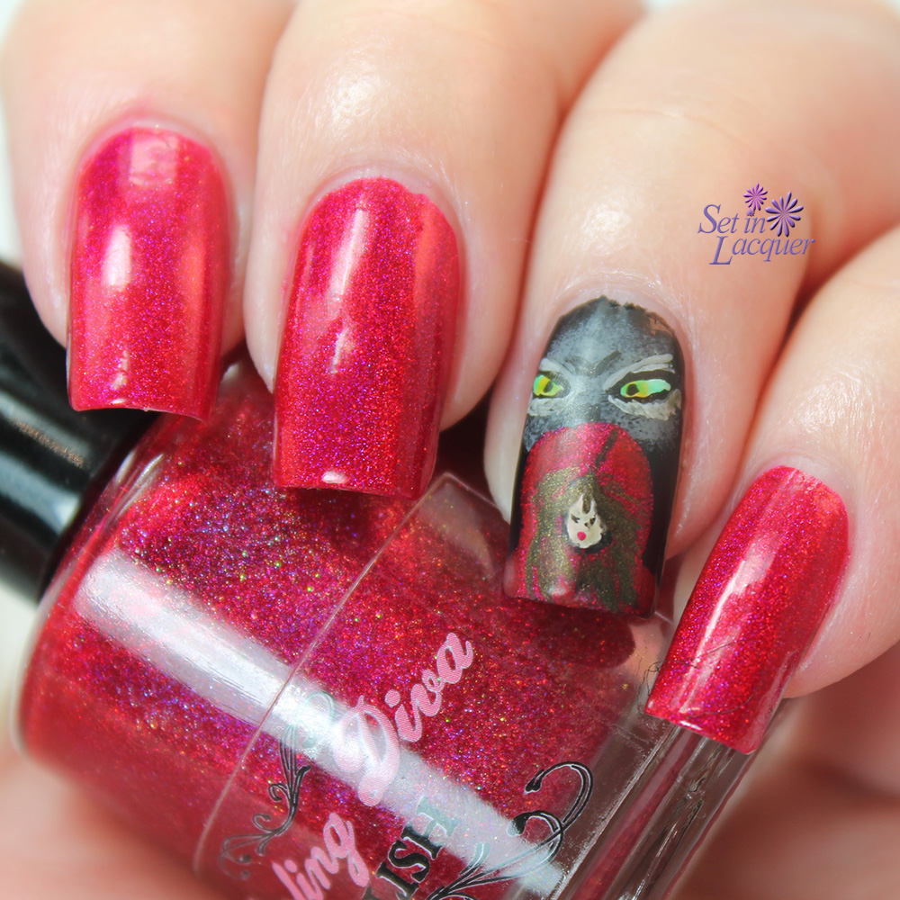 The Big Bad Wolf and Little Red Riding Hood Nail Art with a matte top coat