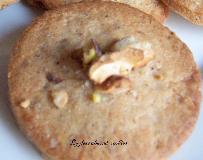 Ruchi: Eggless Almond Cardamom Cookies