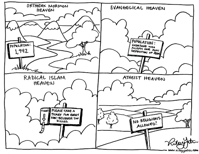 Heaven cartoon, Mormon cartoon, Readical Islam cartoon, Evnagelical cartoon