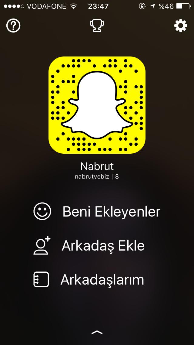 Snapchat adresim: @nabrutvebiz