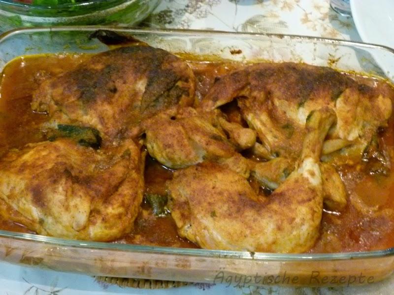 Kartoffeln aus dem Ofen mit Huhn - Ägyptische Rezepte