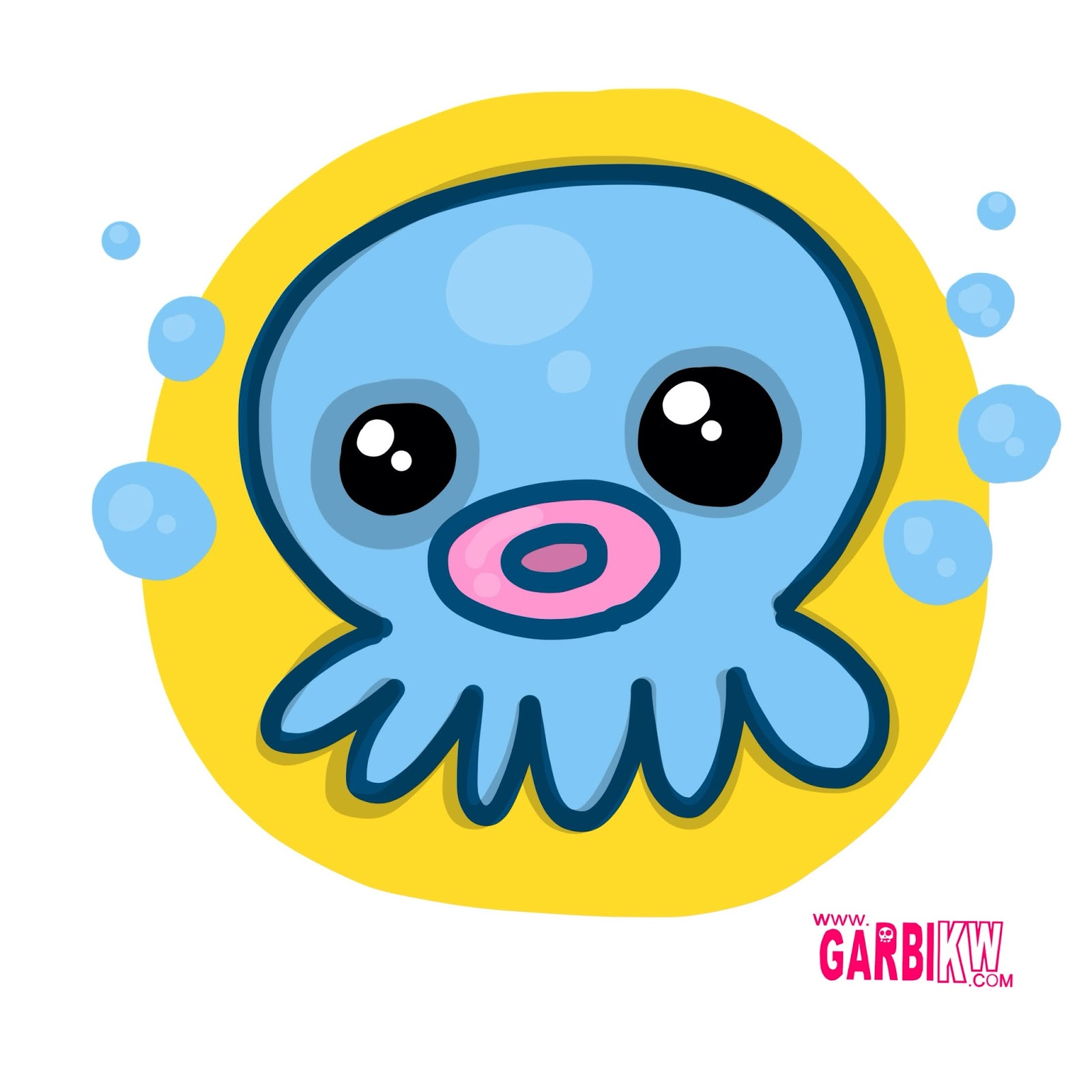 how to draw a cute octopus easy