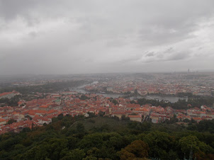 View of Prague on a rainy day from the Petrin at a height of 327 Meters.