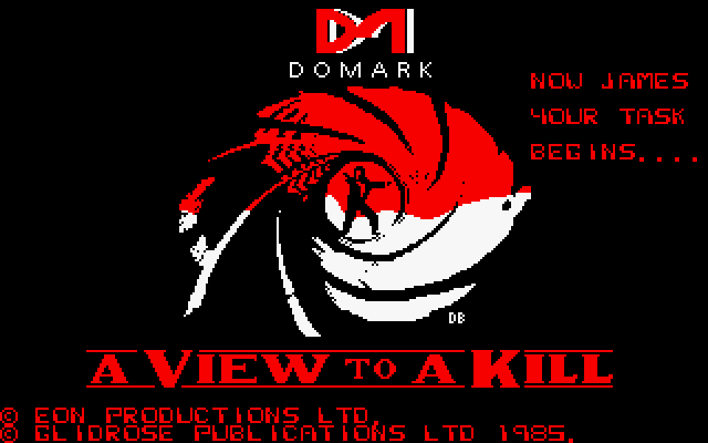 A View to a Kill video game title screen
