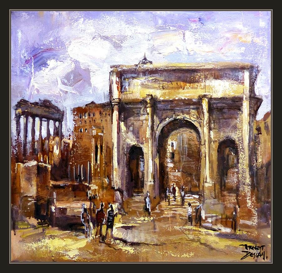 ROMA-PINTURA-FORO-ARCO-TITO-MONUMENTOS-IMPERIO ROMANO-CUADROS-PINTOR-ERNEST DESCALS-