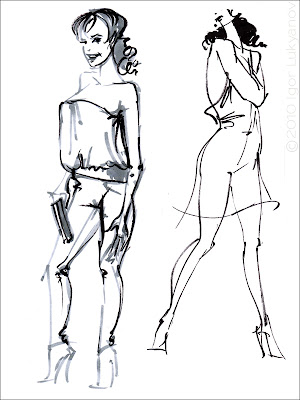fashion sketch drawing (fashion models)