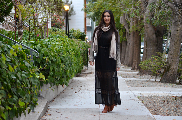 how to wear a fall maxi dress