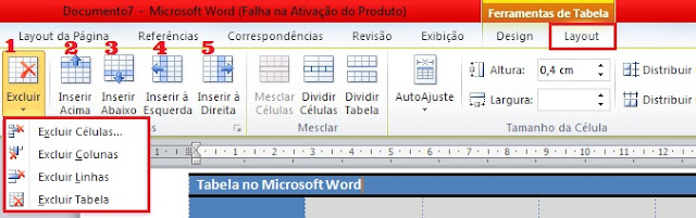 Adicionar linhas, colunas, excluir linhas, células, colunas e tabela no word 2010