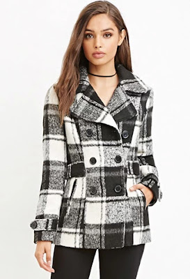Forever 21 Black and Cream Tartan Plaid Coat