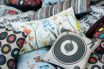 Modern and colourful linen cushions made in UK by Ella Doran