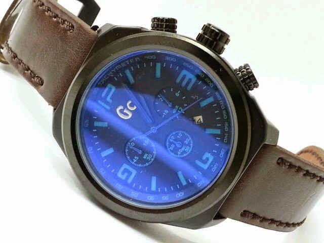 Guess GC 6449 coklat tua list biru