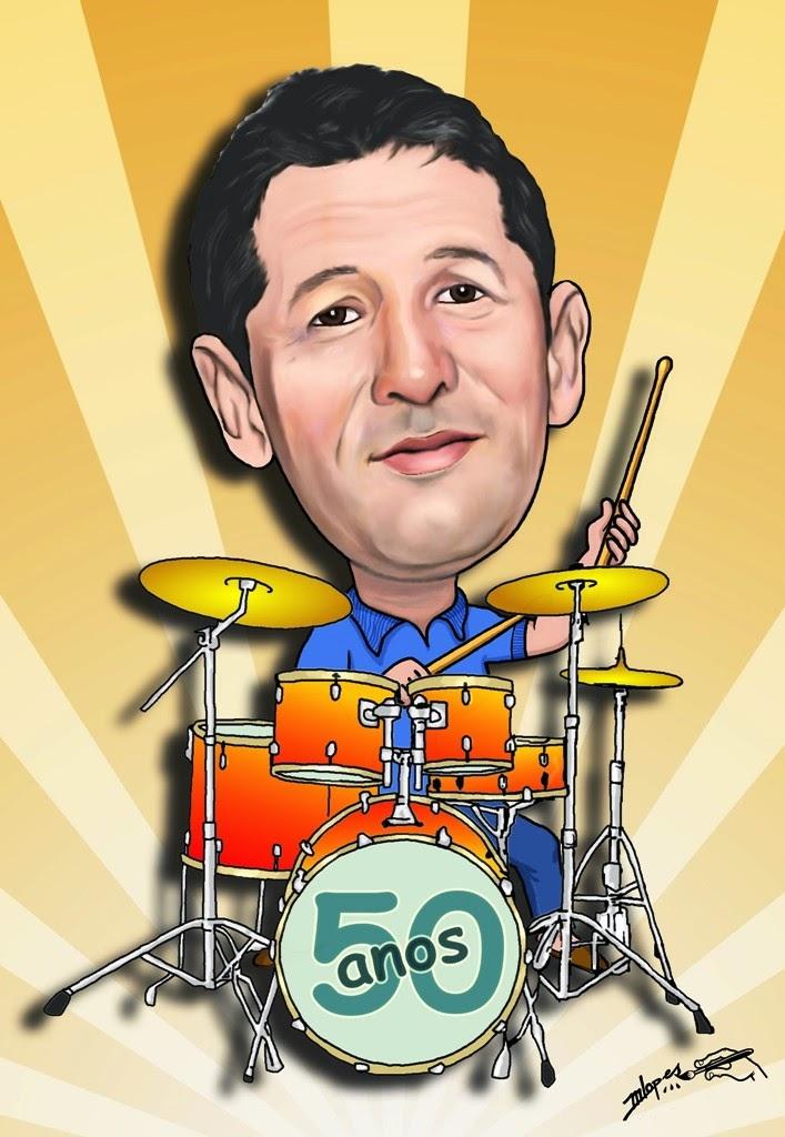 Caricatura de um baterista por Marcelo Lopes de Lopes