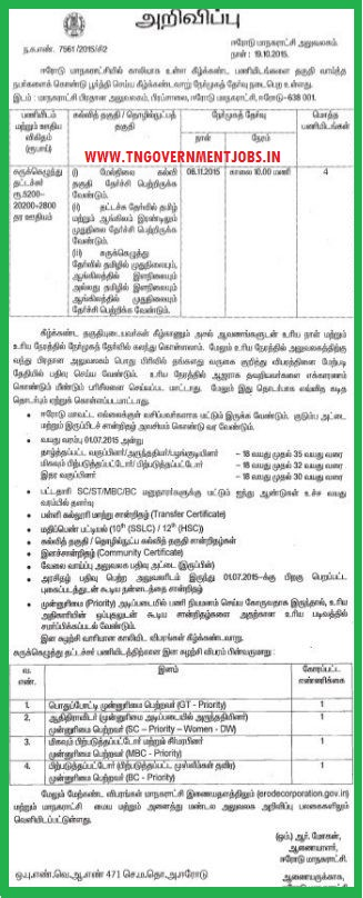 Walk in interview for Steno Typist vacancy in Erode Corporation Office
