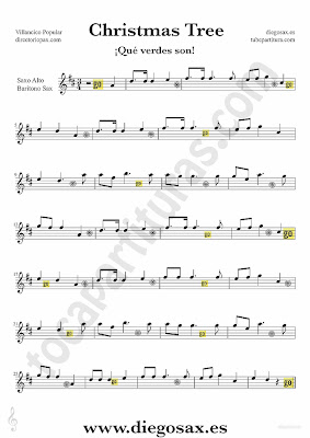 Tubescore Christmas Tree sheet music for Alto Saxophone and Baritone Christmas Carol music score