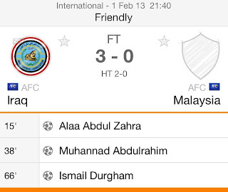 persahabatan malaysia vs iraq februari 2013