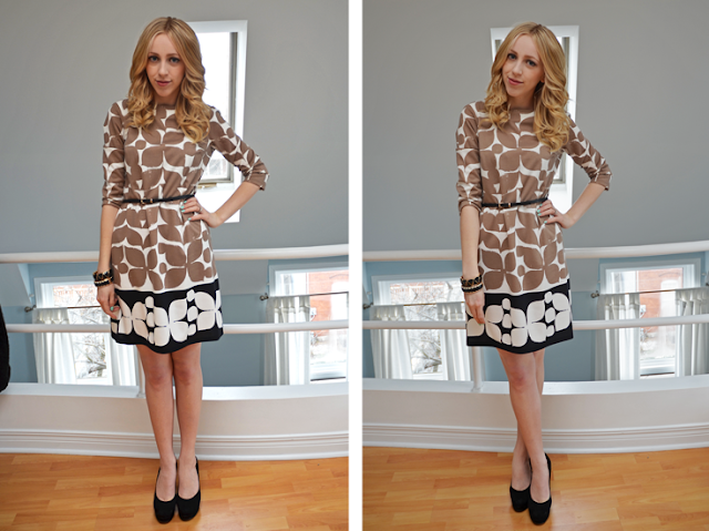 london times fashion shift dress brown and black holiday dress nine west pumps