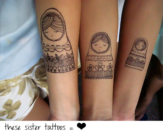 A beautiful drawing tattoo of two sisters